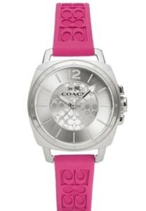 COACH Womens Boyfriend Fuchsia Logo-Embossed Watch